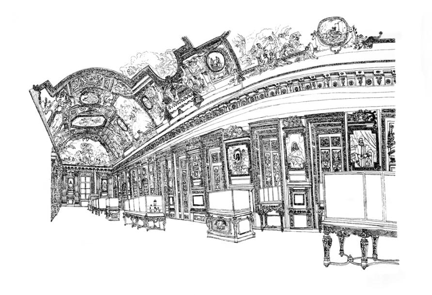 Ma grande Galerie d'Apollon, 2012, encre sur papier, 60 x 80 cm