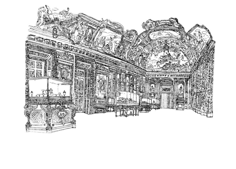 Grande Galerie d'Apollon, 2012, encre de chine sur papier, 50 x 65 cm