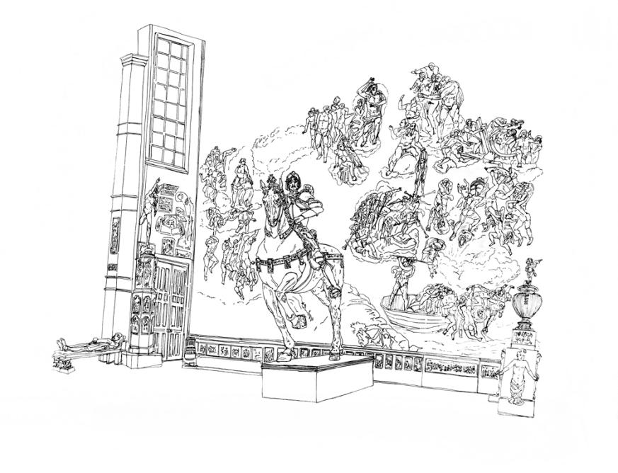 Jugement dernier et Colleone, 2012, encre de chine sur papier, 50 x 65 cm